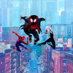 A screenshot of three Spider-Men flying over the city