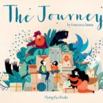 The cover of Francesca Sanna's The Journey, featuring a family sitting on suitcases